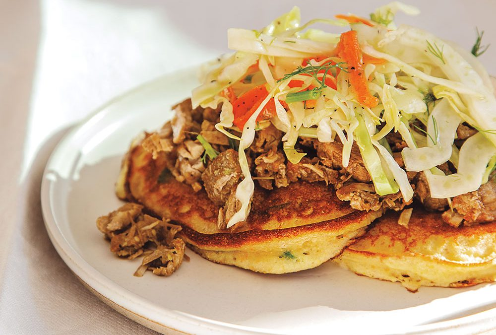 """High"" Hoecakes With Pulled Pork and Fennel Slaw"