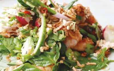 Cambodian Grilled Shrimp Salad (Nyorm Pakaong)