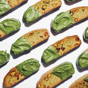Matcha, Lemon and Pistachio Nut Biscotti