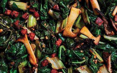 Recipe : Cannabis Infused Chard with 'Nduja and Wild Spring Mushrooms