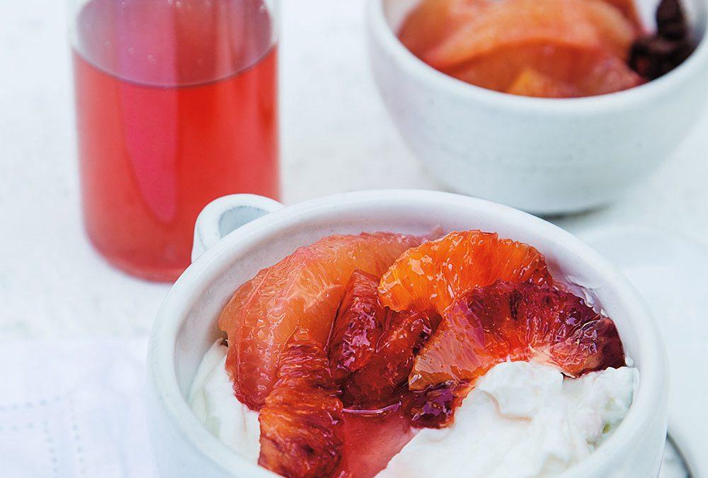 Pink Grapefruit Poached in Hot Kitchen Toke Hemp Honey