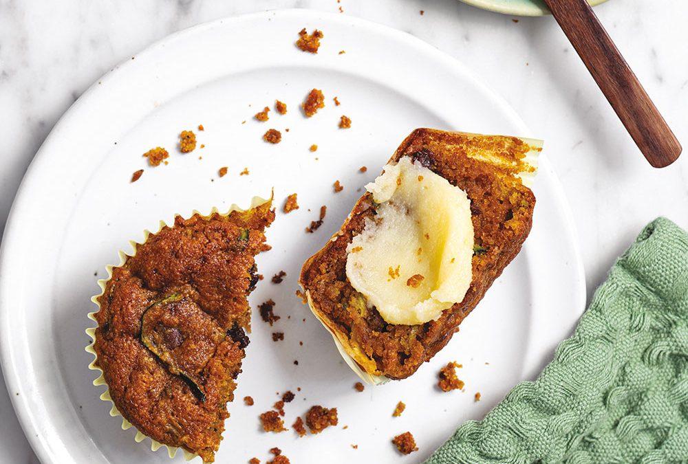 Zucchini Turmeric Chocolate Chip Almond Muffins