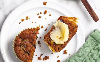 Zucchini Turmeric Chocolate Chip Almond Muffins