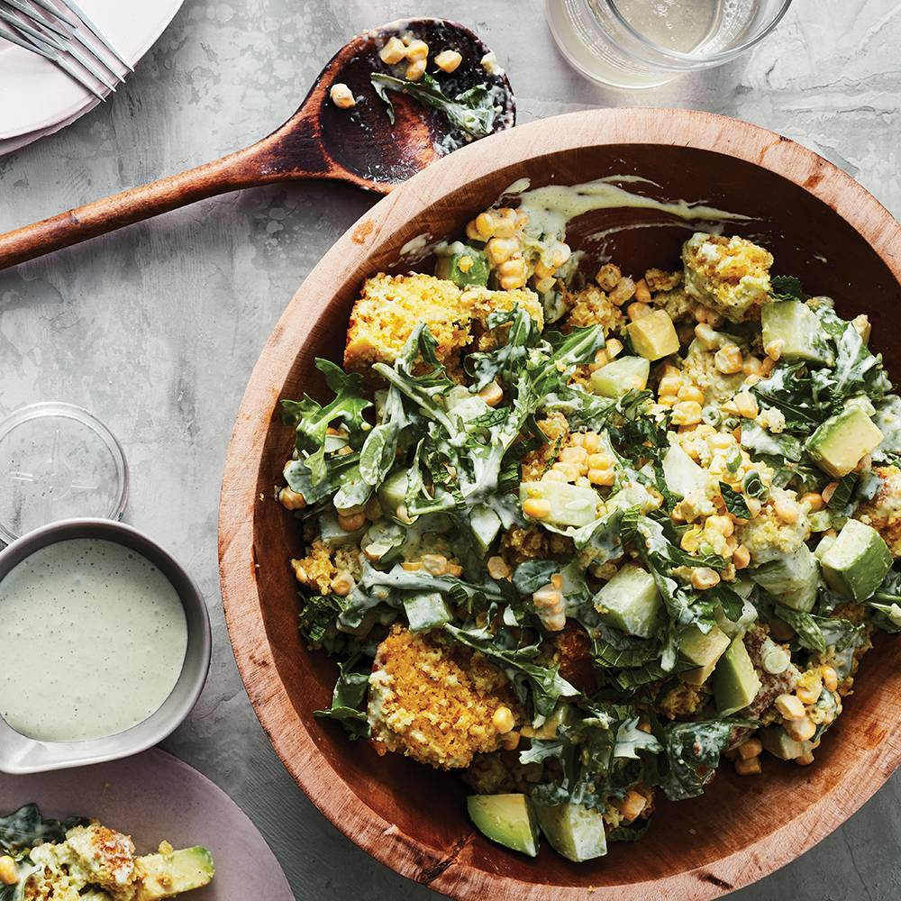 Infused Cornbread and Summer Vegetable Salad