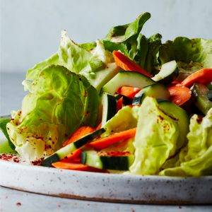 Cucumber and Carrot Salad with Citrus-Hummus Dressing