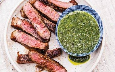 "Grilled New York Strip Steak with ""Herb"" Sauce"