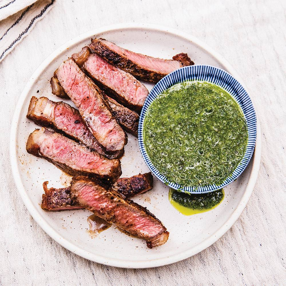 "Infused Grilled New York Strip Steak with ""Herb"" Sauce"