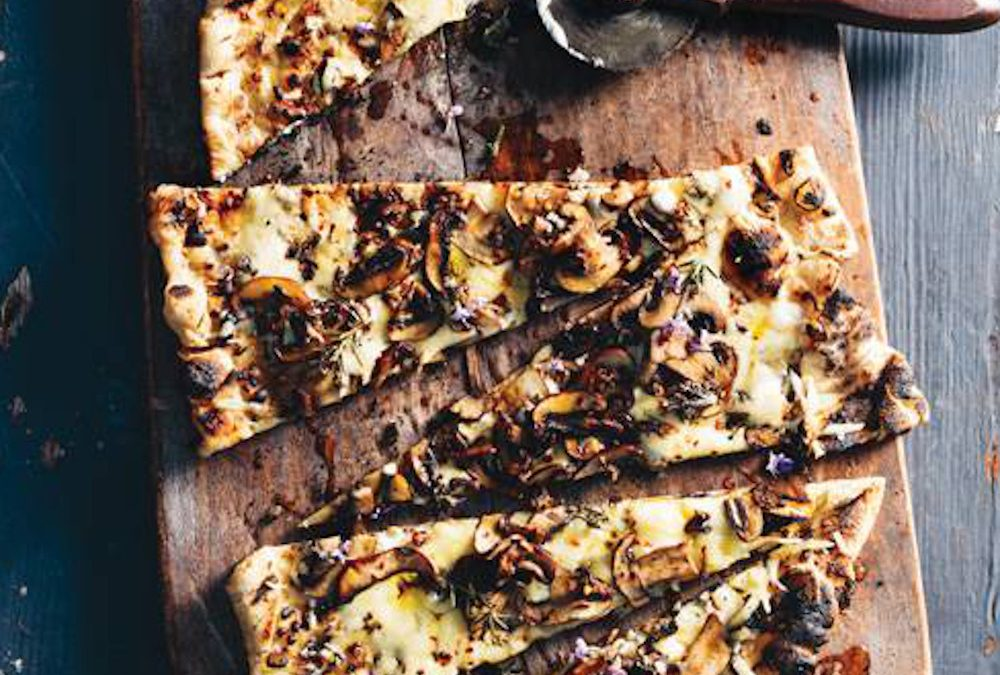 Grilled Pizza Bianca with Mushrooms, Fontina and Rosemary