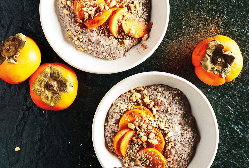 Hemp Heart Breakfast Porridge with Red Belly Honey and Persimmon