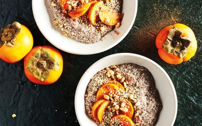 Hemp Heart Breakfast Porridge with Kitchen Toke Hemp Honey and Persimmon