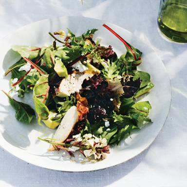 Herb-Roasted Chicken with Avocado, Sorrel, Feta and Cannabis Lemon Vinaigrette
