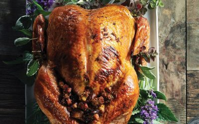 Infused Roasted Turkey with Shallot-Cannabis Stuffing