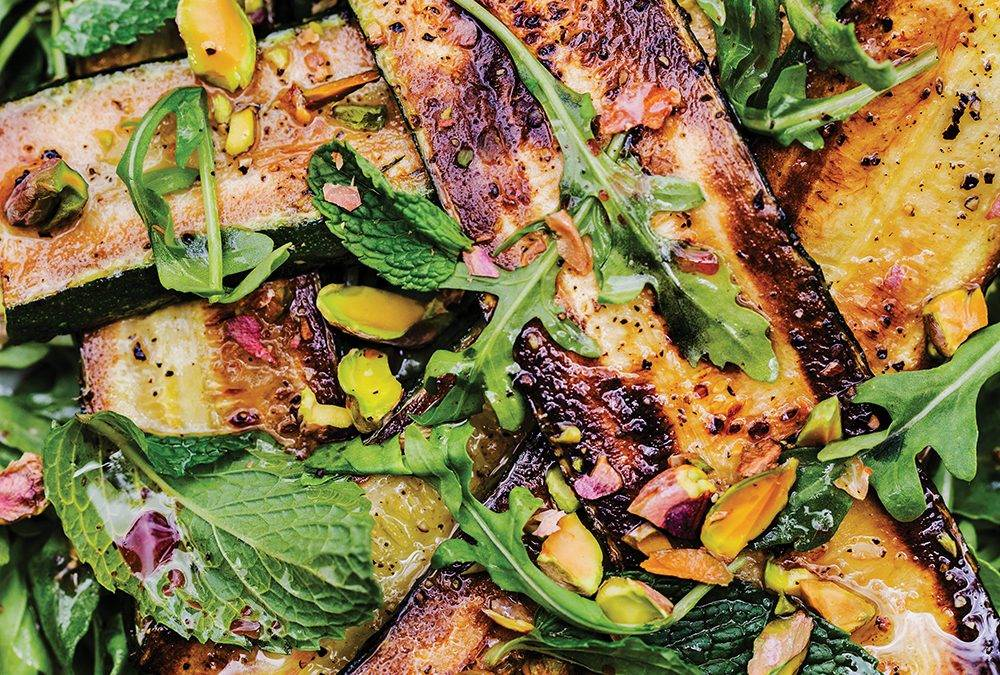 Recipe: Grilled Zucchini with Infused Red Wine Vinaigrette, Pistachios, and Mint