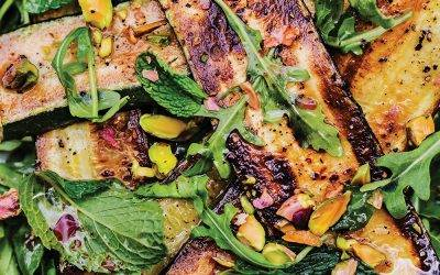 Grilled Zucchini with Infused Red Wine Vinaigrette, Pistachios, and Mint