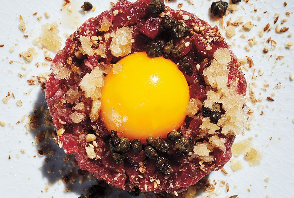Lamb Tartare With Infused Lavender-Mint Granita, Dukkah and Egg Yolk