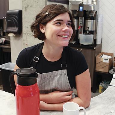 Isabella Spararza at her job