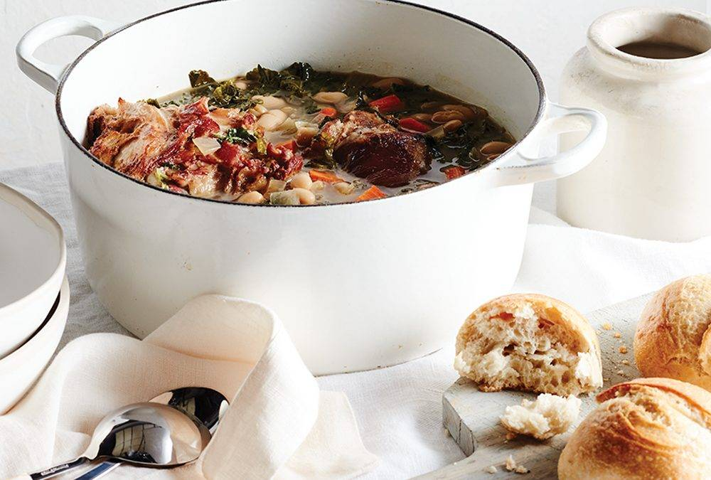 Leftover Ham Bone, Bean and Kale Soup