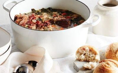 Leftover Ham Bone, Bean and Kale Soup