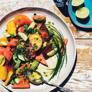 Recipe: Restorative Heirloom Tomato, Watermelon, and Avocado Salad