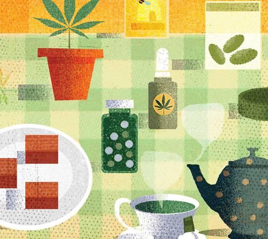 Cannabis-infused pills, mint tea