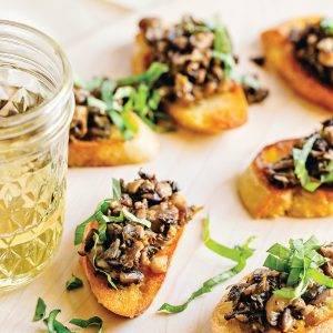 infused crostini and mushroom pate