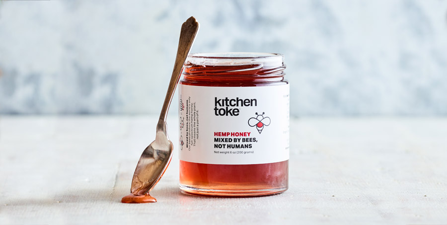 Kitchen Toke Hemp Honey in a jar