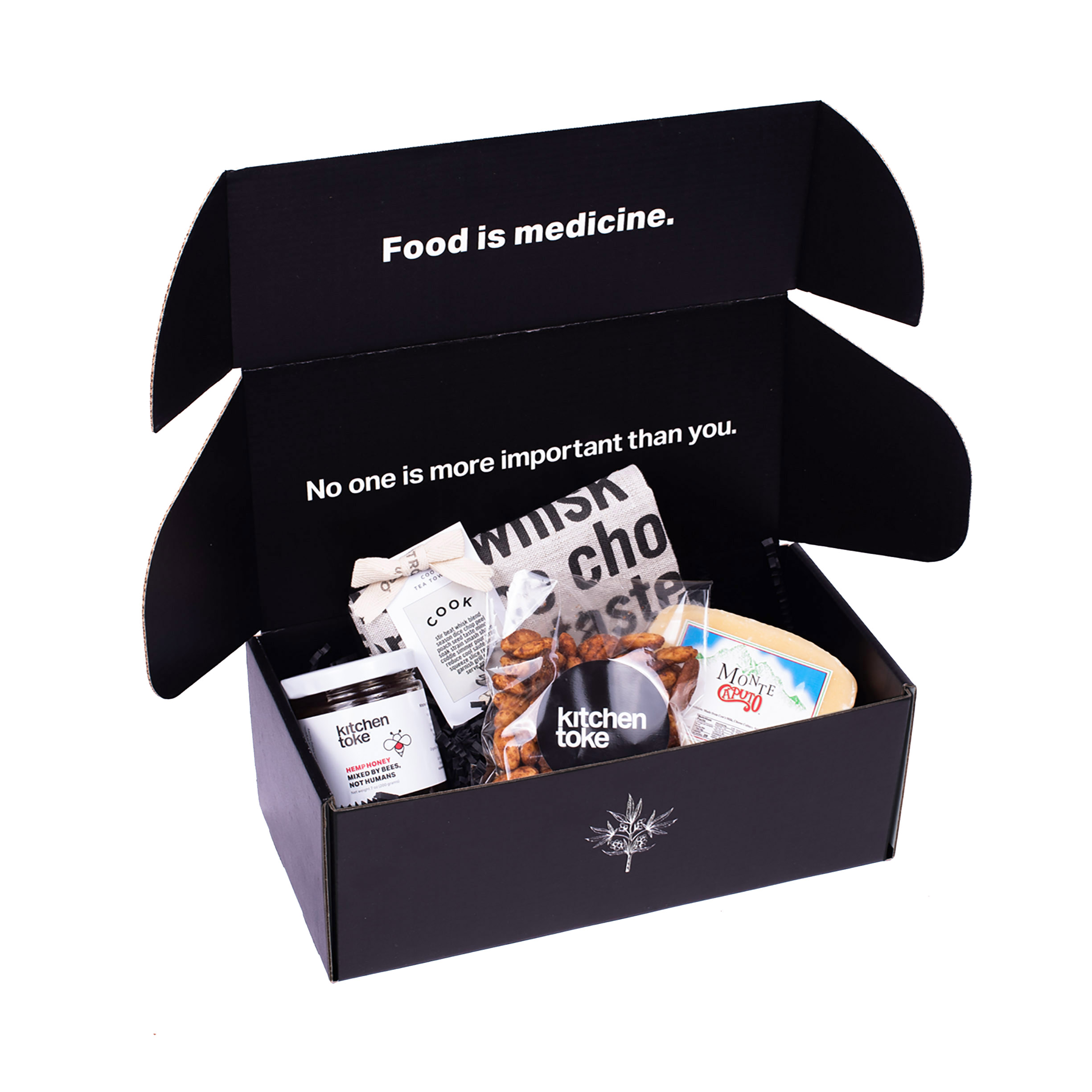 Kitchen Toke Gift Box with Honey, Nuts, cheese and a tea towel