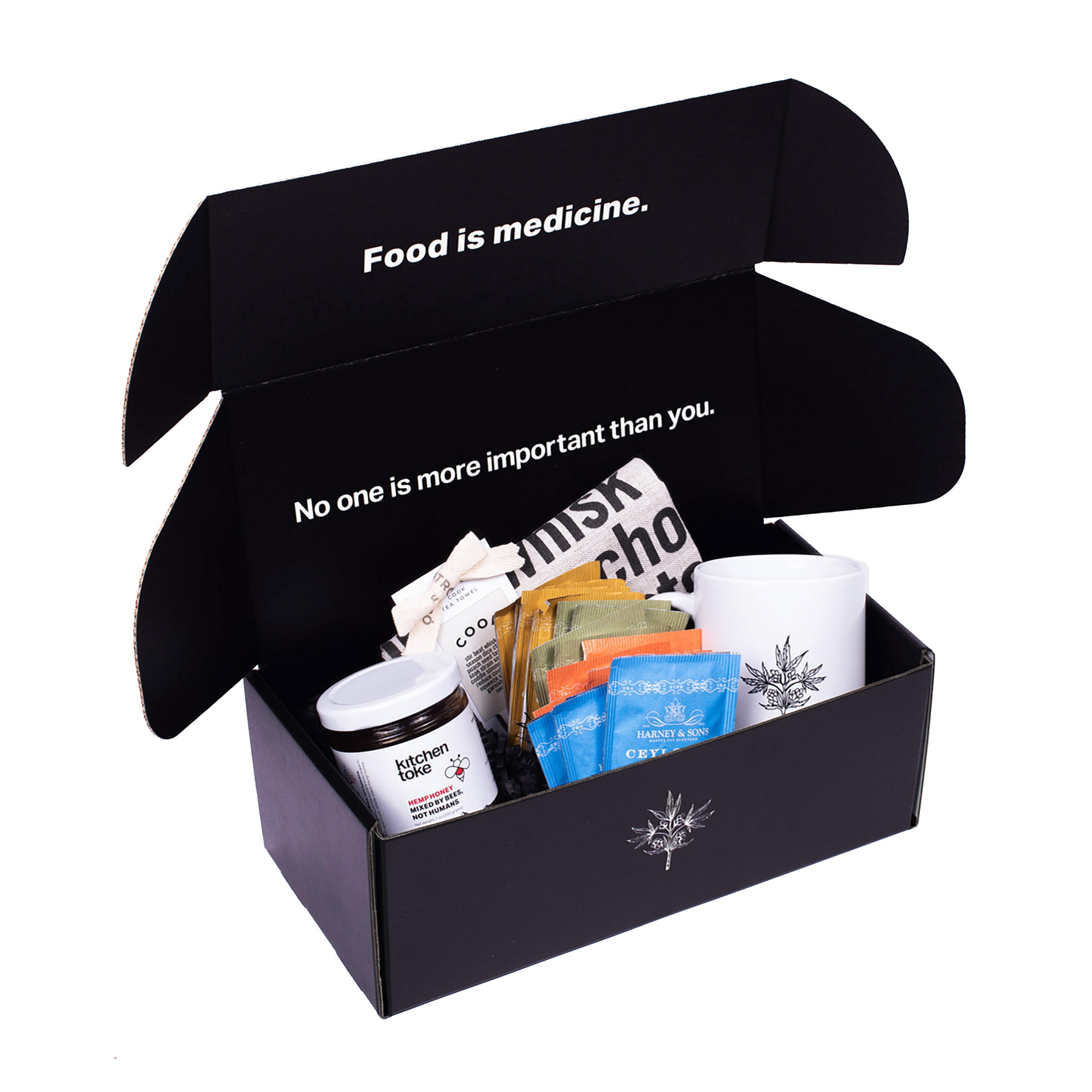 Kitchen Toke Gift Box with Honey, Tea, Cup, and tea towel