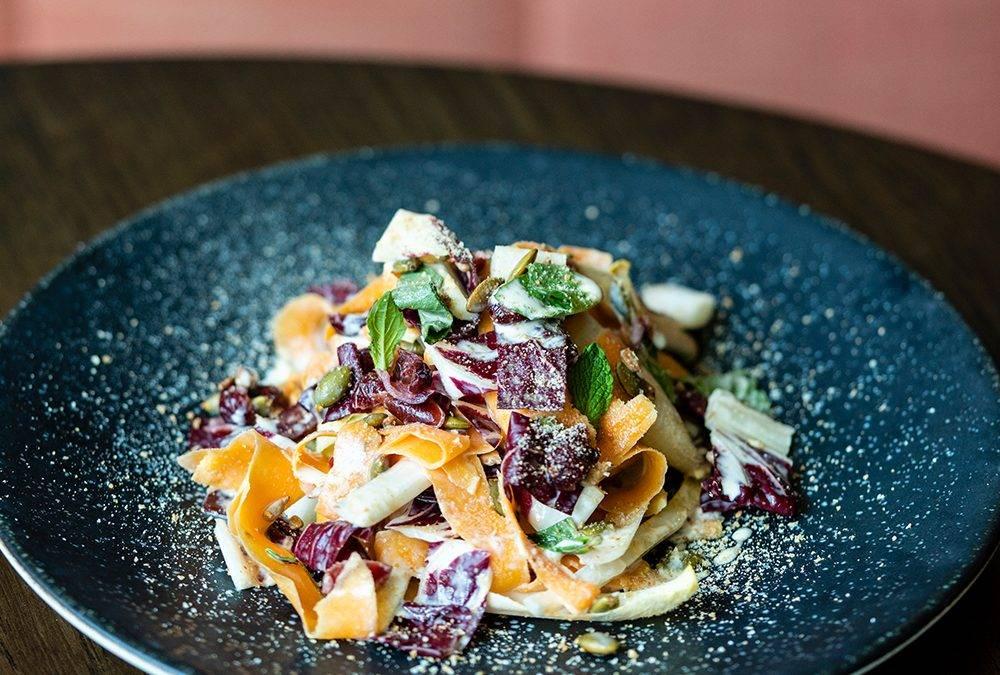 Recipe:  Shaved Squash Salad With Yogurt Vinaigrette