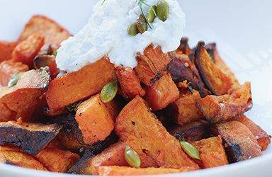 Sweet Potatoes with Ras al Hanout and Vegan Labneh
