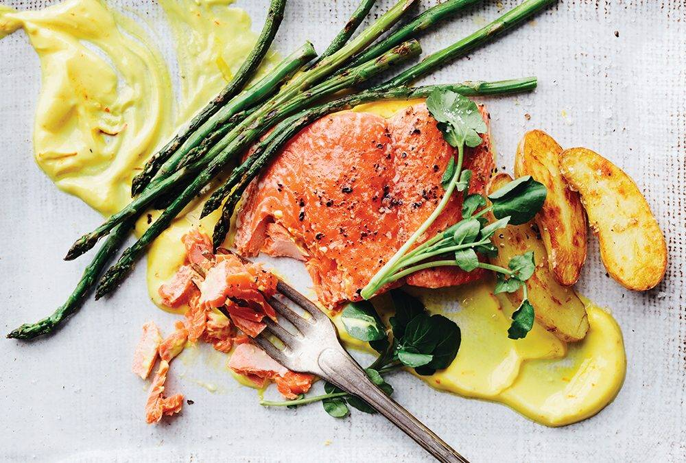 Wild Salmon with Asparagus, Potatoes and Sedated Saffron Yogurt
